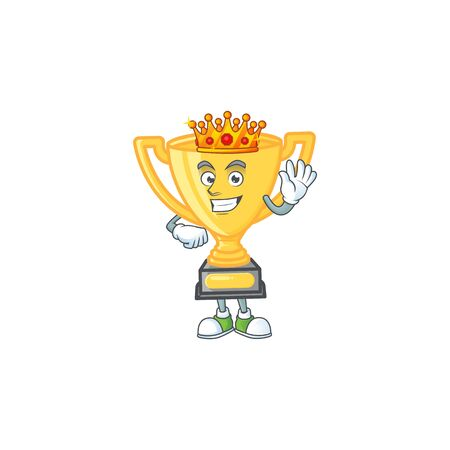 King cartoon gold trophy on white background. vector illustration Stock Illustratie
