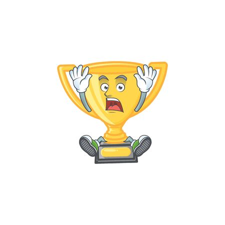 Successful gold trophy for victory achievement award. vector illustration