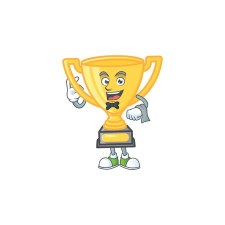 Waiter icon character gold trophy with mascot vector illustration Иллюстрация