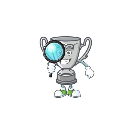 Detective silver trophy with cartoon character shape.
