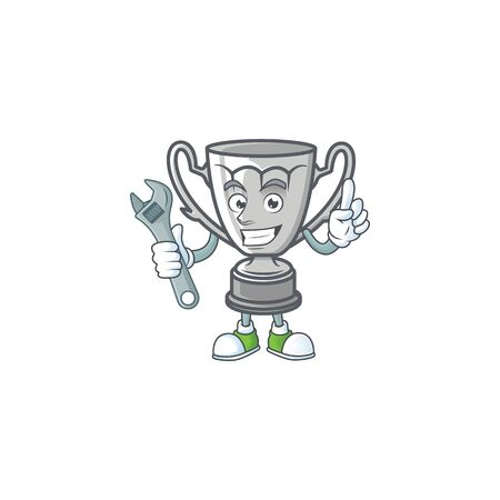 Mechanic cartoon silver trophy on white background.