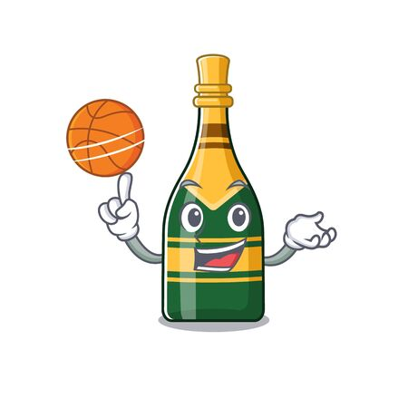 With basketball champagne bottle isolated with the mascot vector illustration