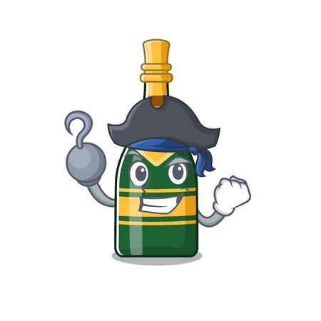 Pirate champagne bottle isolated with the mascot vector illustration