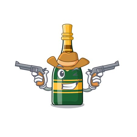 Cowboy champagne bottle isolated with the mascot vector illustration Çizim