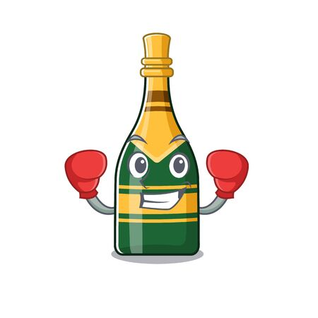 Boxing champagne bottle isolated with the mascot vector illustration Çizim