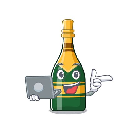 With laptop champagne bottle isolated with the mascot vector illustration  イラスト・ベクター素材