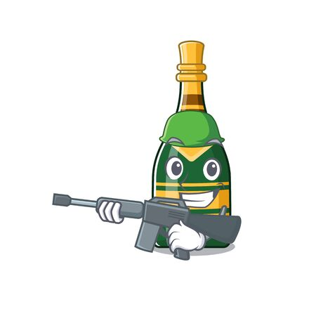 Army champagne bottle isolated with the mascot vector illustration