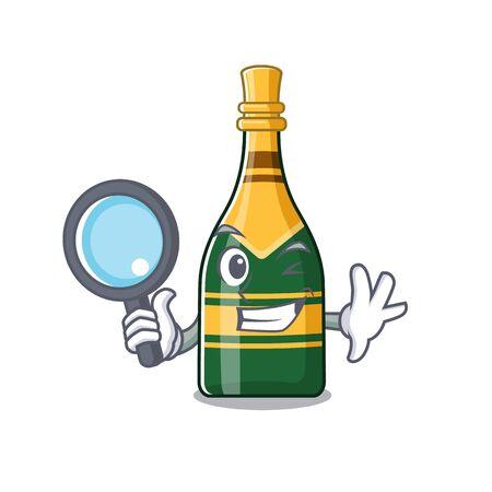 Detective champagne bottle poured in cartoon glasses vector illustration Çizim