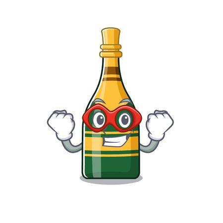 Super hero champagne bottle poured in cartoon glasses vector illustration