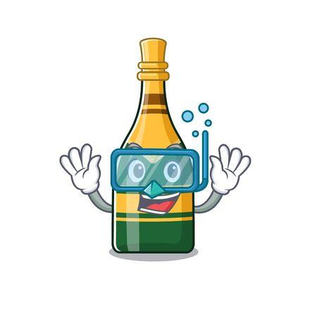 Diving champagne bottle poured in cartoon glasses vector illustration Çizim