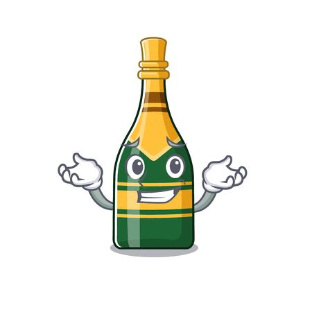 Grinning champagne bottle poured in cartoon glasses vector illustration