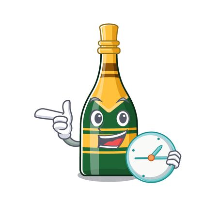 With clock champagne bottle poured in cartoon glasses vector illustration