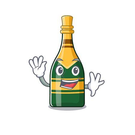 Waving champagne bottle poured in cartoon glasses vector illustration Çizim