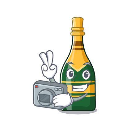 Photographer champagne bottle in the character fridge vector illustration