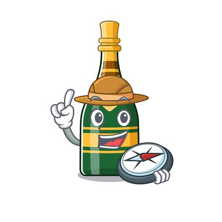Explorer champagne bottle in the character fridge vector illustration