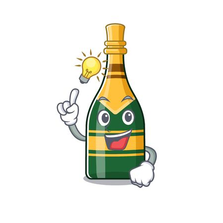 Have an idea champagne bottle in the cartoon shape vector illustration