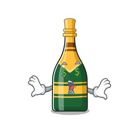 Money eye champagne bottle in the cartoon shape vector illustration