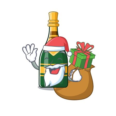 Santa with gift champagne bottle in the cartoon shape vector illustration