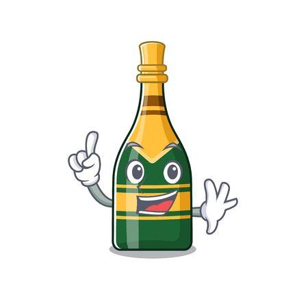 Finger champagne bottle in the cartoon shape vector illustration Banco de Imagens - 131782624
