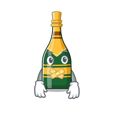 Silent champagne bottle in the cartoon shape vector illustration Çizim