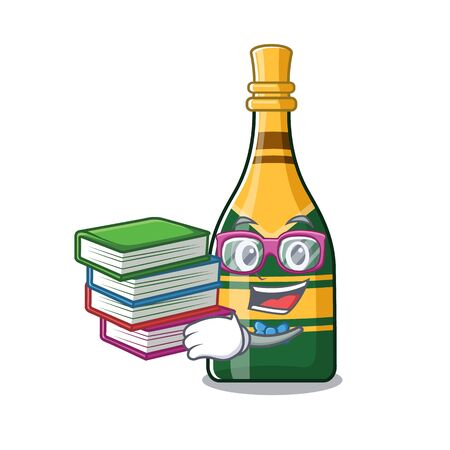 Student with book champagne bottle in the cartoon shape vector illustration Çizim