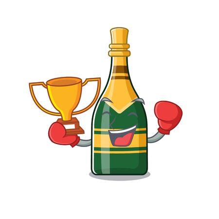 Boxing winner champagne bottle in the cartoon shape vector illustration