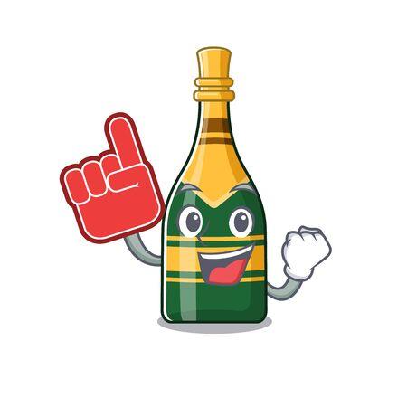 Foam finger champagne bottle in the cartoon shape vector illustration