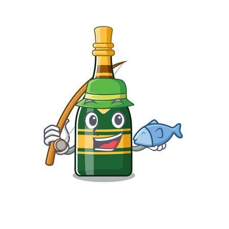 Fishing champagne bottle in the character fridge vector illustration