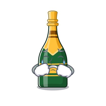 Crying champagne bottle in the character fridge vector illustration