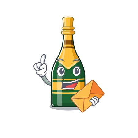 With envelope champagne bottle poured in cartoon glasses vector illustration