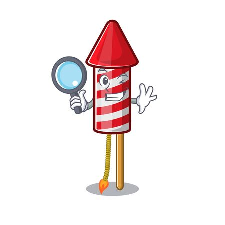 Detective fireworks rocket placed in mascot box vector illustration