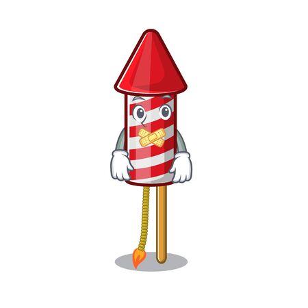 Silent fireworks rocket on in the cartoon vector illustration