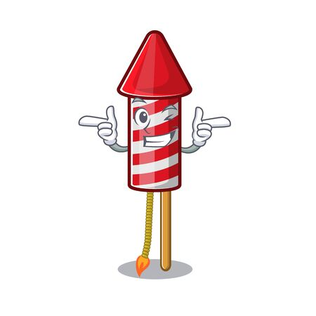 Wink fireworks rocket placed in mascot box vector illustration 일러스트