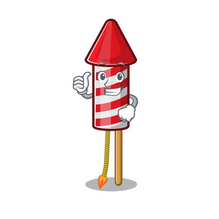 Thumbs up fireworks rocket placed in mascot box vector illustration 일러스트