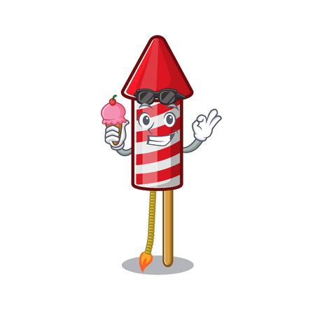 With ice cream fireworks rocket placed in mascot box vector illustration