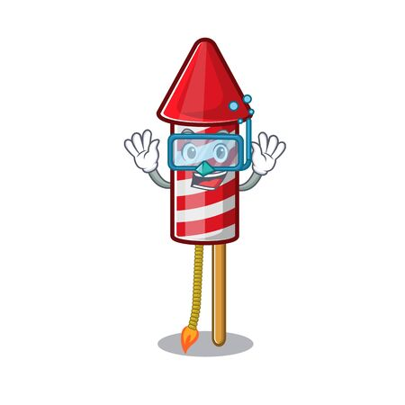 Diving fireworks rocket placed in mascot box vector illustration