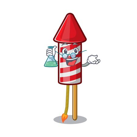 Professor fireworks rocket placed in mascot box vector illustration
