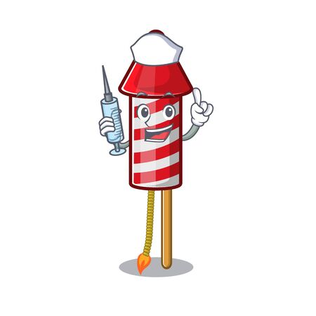 Nurse fireworks rocket placed in mascot box vector illustration