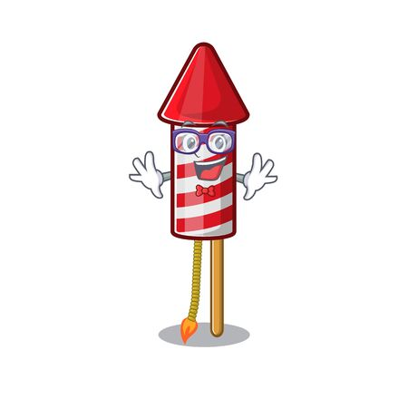 Geek fireworks rocket placed in mascot box vector illustration