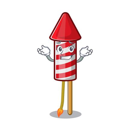 Grinning fireworks rocket placed in mascot box vector illustration