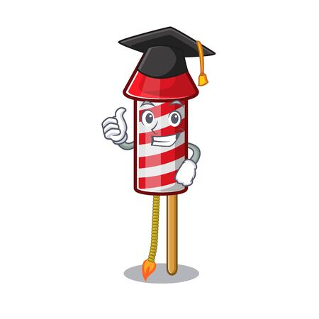 Graduation fireworks rocket placed in mascot box vector illustration Illustration