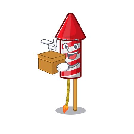 With box fireworks rocket placed in mascot box vector illustration