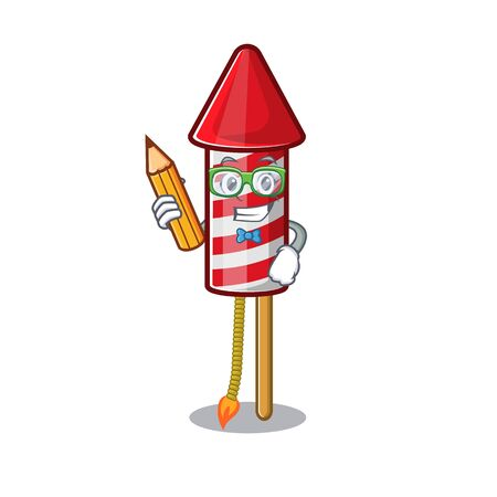 Student fireworks rocket placed in mascot box vector illustration 일러스트