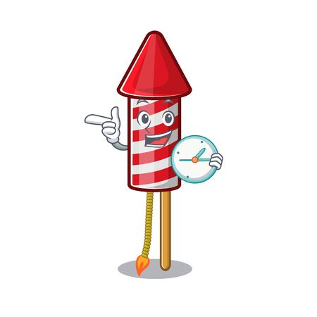 With clock fireworks rocket placed in mascot box vector illustration