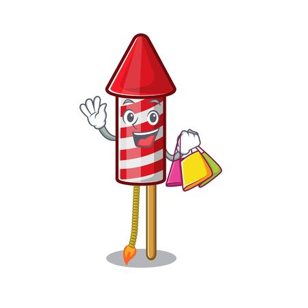 Shopping fireworks rocket placed in mascot box vector illustration
