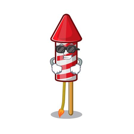 Super cool fireworks rocket placed in mascot box vector illustration