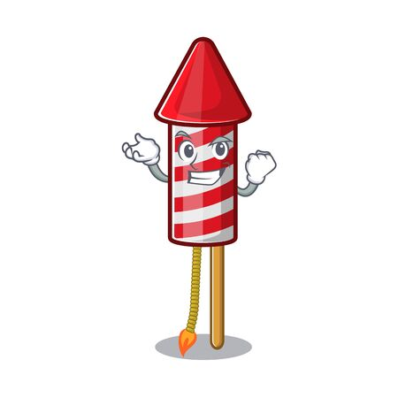 Successful fireworks rocket placed in mascot box vector illustration