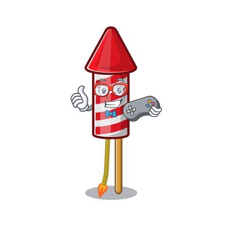 Gamer fireworks rocket mascot in cartoon shape vector illustration
