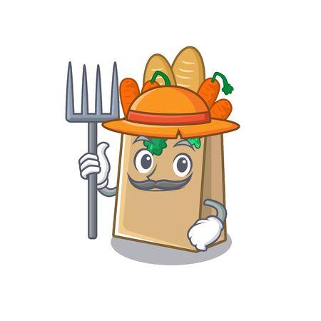 Farmer grocery bag with the mascot shape vector illustration Stock Illustratie