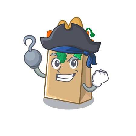 Pirate grocery bag with the mascot shape vector illustration